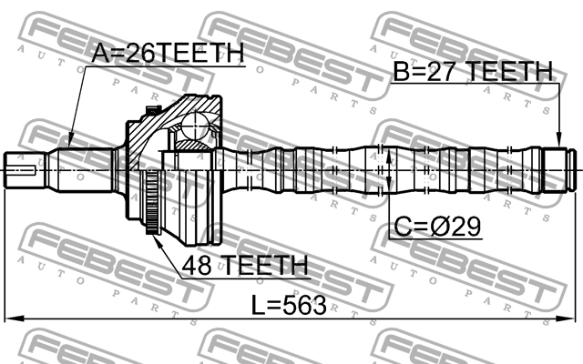 SHAFT ASSEMBLY, OUTER CV JOINT 27X562X26 - 0114-ACV30A48